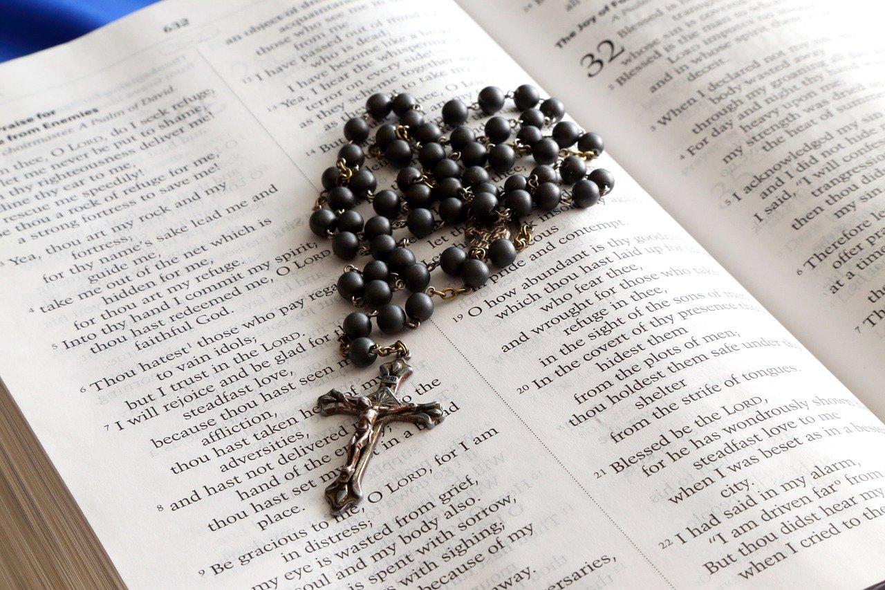 rosary, bible, cross