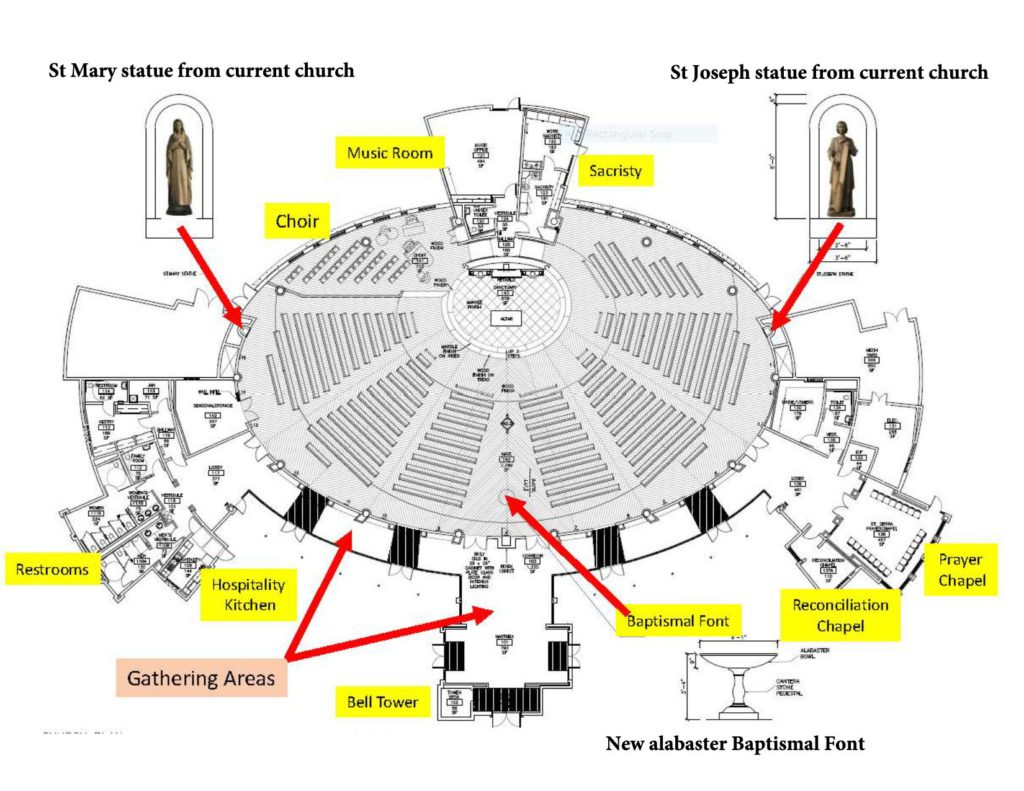 New church plan with labels