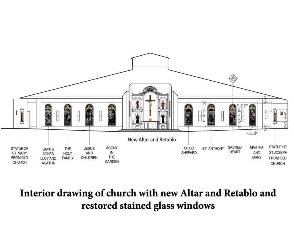 New church interior plan toward altar